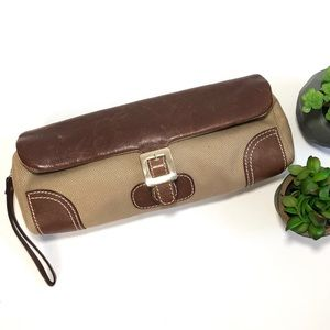 Kate Spade golden fabric and brown leather clutch